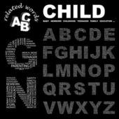 CHILD. Illustration with different association terms. — 图库矢量图片