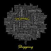 ショッピング。単語の雲とのシームレスなベクター パターン. — ストックベクタ