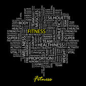 FITNESS. Seamless vector pattern with word cloud. — Stock Vector