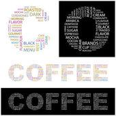 Kaffe. illustration med olika association villkor. — Stockvektor