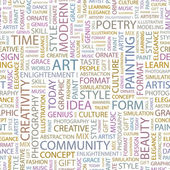 ART. Seamless vector pattern with word cloud. — Stockvektor