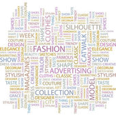 FASHION. Seamless vector pattern with word cloud. — Stock Vector