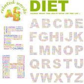 DIET. Vector letter collection. — Stock Vector