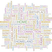 HOME. Word collage on white background. Vector illustration. — Vettoriale Stock