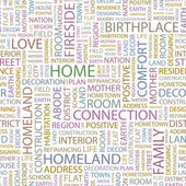 HOME. Word collage on white background. Vector illustration. — Vetorial Stock