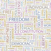 FREEDOM. Seamless vector pattern with word cloud. — Stock Vector