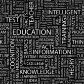 Onderwijs. naadloze vector patroon met word cloud. — Stockvector
