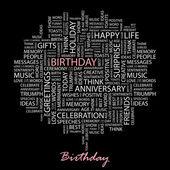 BIRTHDAY. Seamless vector pattern with word cloud. — ストックベクタ