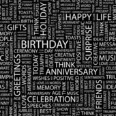 BIRTHDAY. Seamless vector pattern with word cloud. — Stockvektor