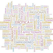 EROTICA. Seamless vector pattern with word cloud. — Vector de stock