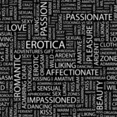EROTICA. Seamless vector pattern with word cloud. — Vecteur