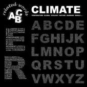 Clima. coleção de carta. ilustração com termos diferentes de associação. — Vetor de Stock