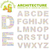 ARCHITECTURE. Vector letter collection. Wordcloud illustration. — Stock Vector