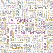 VITAMINS. Word collage on white background. Vector illustration. — Stock Vector