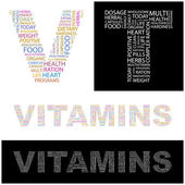 VITAMINS. letter collection. Illustration with different association terms. — Stock Vector