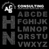 CONSULTING. Vector letter collection. Wordcloud illustration. — Stock Vector