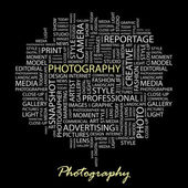PHOTOGRAPHY. Seamless vector pattern with word cloud. — Stock Vector