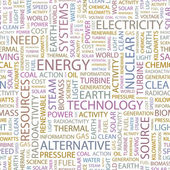 ENERGY. Seamless vector pattern with word cloud. — Stock Vector