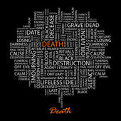DEATH. Word collage on black background. — Stock Vector