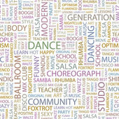 DANCE. Word collage on white background. — Vector de stock