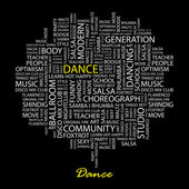 DANCE. Seamless vector pattern with word cloud. — Stock Vector