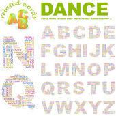 DANCE. letter collection. Illustration with different association terms. — Stock Vector