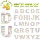BIOTECHNOLOGY. Vector letter collection. — Stock Vector