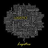 Logística. palabra collage sobre fondo negro. — Vector de stock