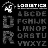 LOGISTICS. Word collage on black background. — Stock Vector