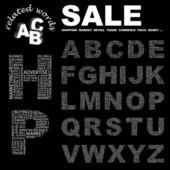 Satılık. sözcük koleksiyonu. siyah arka plan üzerinde vektör kolaj. — Stok Vektör
