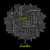 LEADER. Word collage on black background. Vector illustration. — ストックベクタ