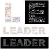 LEADER. Word collage — Stock Vector