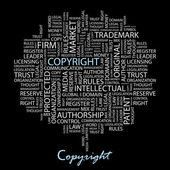 COPYRIGHT. Illustration with different association terms. — Wektor stockowy