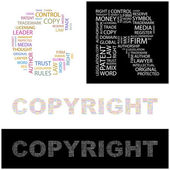 COPYRIGHT. Illustration with different association terms. — Stock Vector