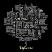 SOFTWARE. Word collage on black backgrou — Stock Vector