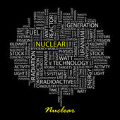 NUCLEAR. Word collage on black backgroun — Stock Vector