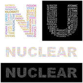 NUCLEAR. Word collage. — Stock Vector