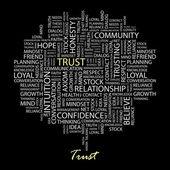 Fiducia. parola collage su sfondo nero — Vettoriale Stock