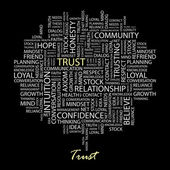 TRUST. Word collage on black background — Stock vektor