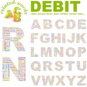 DEBIT. Vector letter collection. — Stock Vector