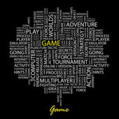 GAME. Word collage on black background. — Stock Vector