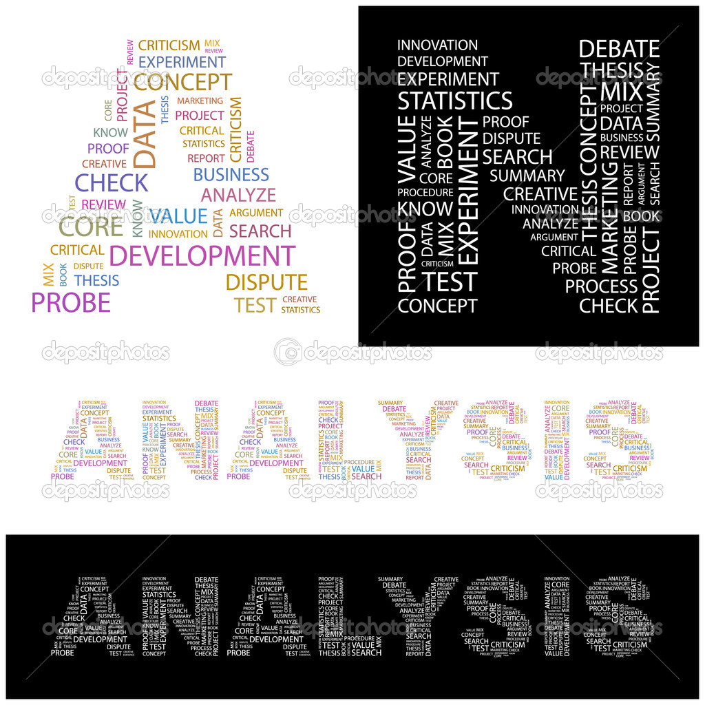 ANALYSIS. Word collage on white background. Illustration with different association terms.  Stock Vector #3075946