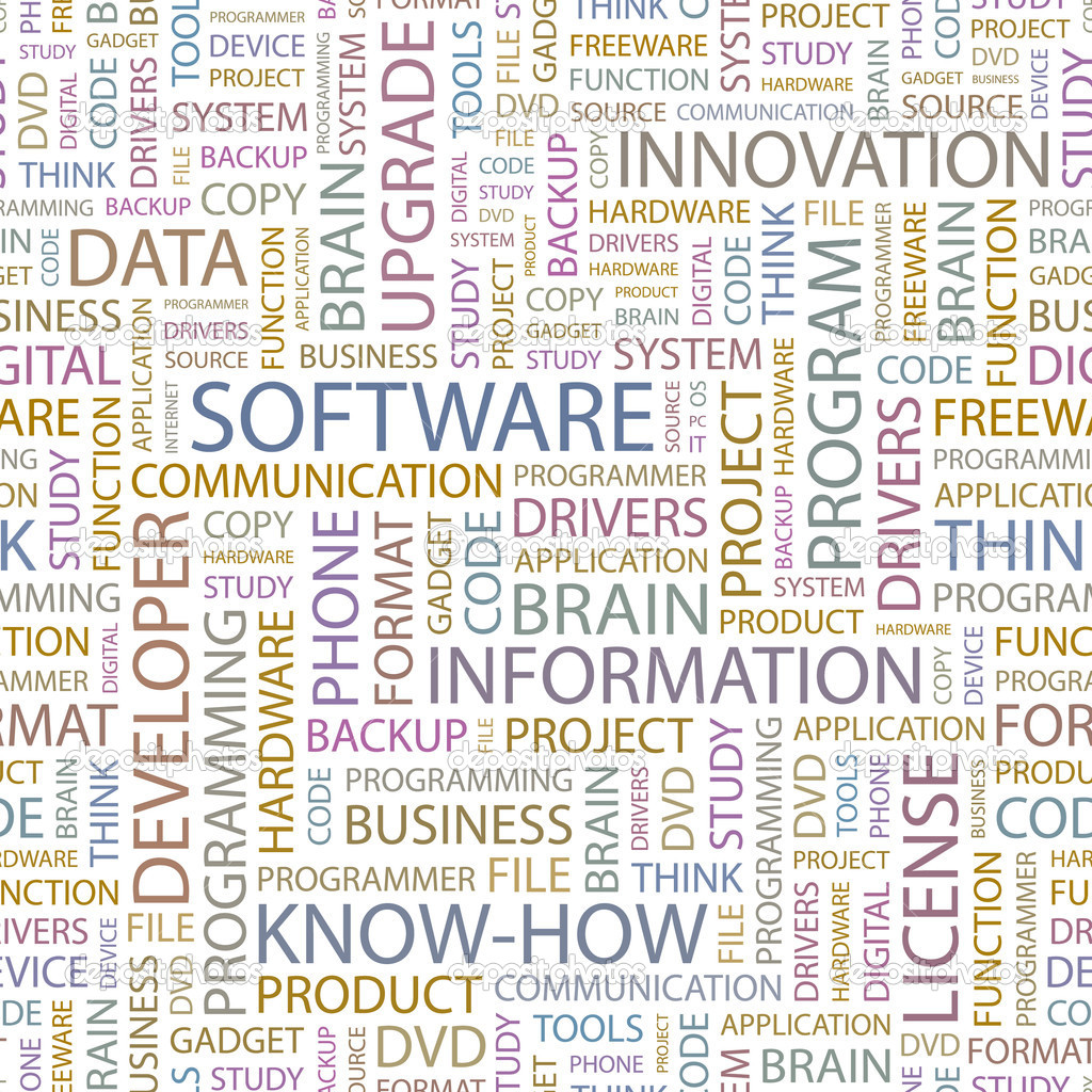 SOFTWARE. Seamless vector background. Wordcloud illustration. — Stock Vector #3078997