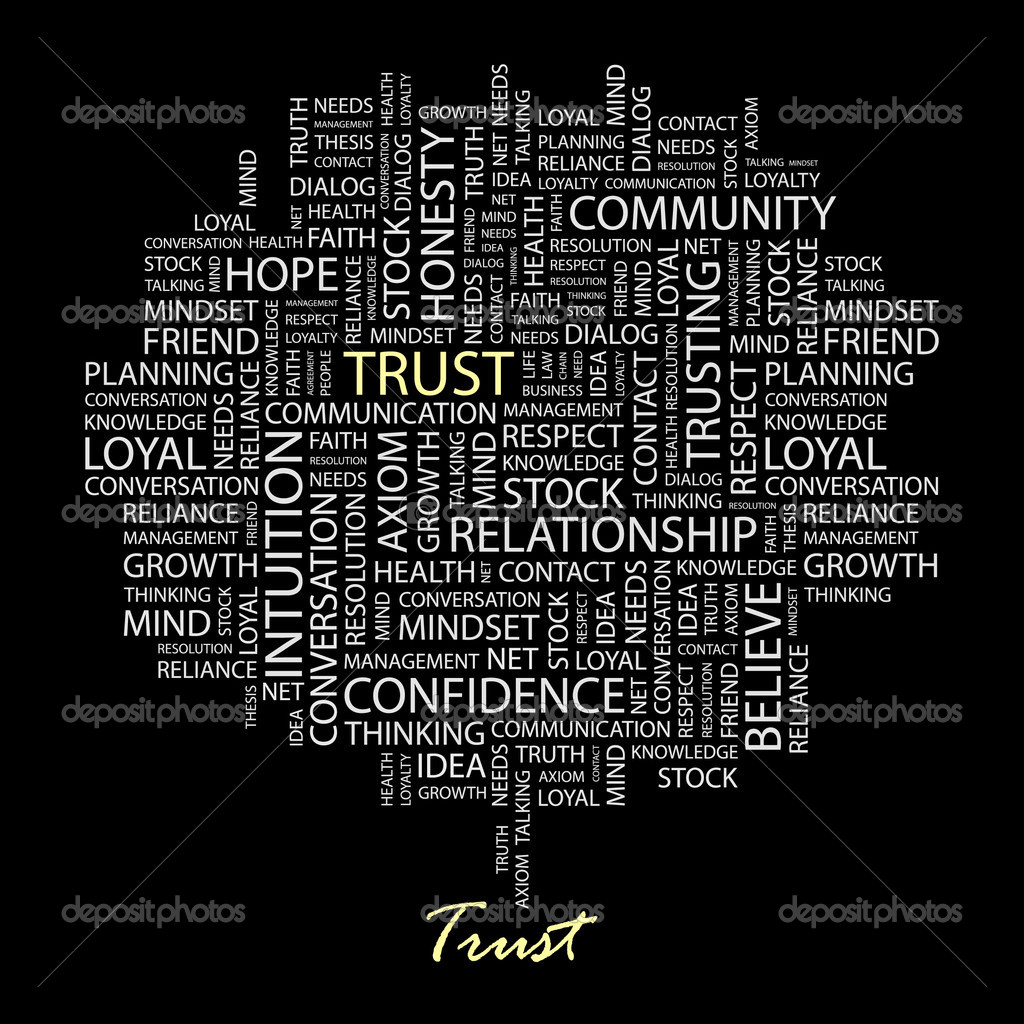 TRUST. Word collage on black background. Vector illustration.  — Stock Vector #3079049