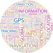 GPS. Word collage — Stock Vector