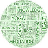 Yoga. collage de palabra — Vector de stock