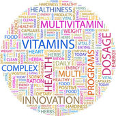 VITAMINS. Word collage — Stock Vector
