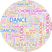 DANCE. Word collage — Stock Vector
