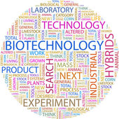 BIOTECHNOLOGY. Word collage — Stock Vector