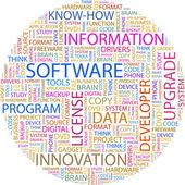 Programvara. ordet collage — Stockvektor